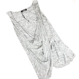 Missguided Plunge Gray V-Neck Twist Front Blouse